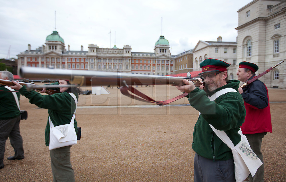 © Licensed to London News Pictures. 12/06/2012. LONDON, UK. Reenactors  of the 'Moscow Militia' practice during a dress rehearsal ahead of the annual Beating Retreat ceremony on Horse Guard's Parade today (12/06/12). Photo credit: Matt Cetti-Roberts/LNP