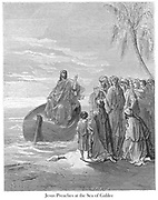 Jesus Preaching at the Sea of Galilee [Luke 5:3] From the book 'Bible Gallery' Illustrated by Gustave Dore with Memoir of Dore and Descriptive Letter-press by Talbot W. Chambers D.D. Published by Cassell & Company Limited in London and simultaneously by Mame in Tours, France in 1866