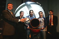 LISBOA-29 NOVEMBRO 2003 GERAHARD HAIGNER executive director of UEFA  holds the Adidas Roteiro match ball whith from left to rigthGERAHARD AIGNER (E.D. UEFA), GILBERTO MADAIL, (President of the EURO 2004),NUNO GOMES (S.L.Benfica), SIMÃO SABROSA (S.L.Benfica) and HERBET HAYNER (pres.ADIDAS); ADIDAS presents the official ball for the EURO 2004 in FILL auditorium-Lisbon<br />(PHOTO BY: AFCD/NUNO ALEGRIA)