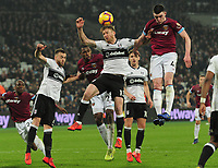 Football - 2018 / 2019 Premier League - West Ham United vs. Fulham<br /> <br /> Declan Rice of West ham and Tim Ream of Fulham, at The London Stadium.<br /> <br /> COLORSPORT/ANDREW COWIE