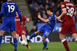 Leicester City's Shinji Okazaki scores the opening goal