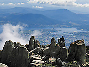 From atop from Mount Wellington (1271 meters or 4170 ft), see the estuary of Derwent River and Hobart, capital of the state of Tasmania, Australia. Founded in 1804 as a penal colony, Hobart is Australia's second oldest capital city after Sydney. Hobart is home port for both Australian and French Antarctic operations.