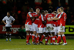 Crewe Alexandra players celebrate after Jamie Ness scores a goal to make it 1-0 - Photo mandatory by-line: Rogan Thomson/JMP - 07966 386802 - 20/12/2014 - SPORT - FOOTBALL - Crewe, England - Alexandra Stadium - Crewe Alexandra v Bristol City - Sky Bet League 1.