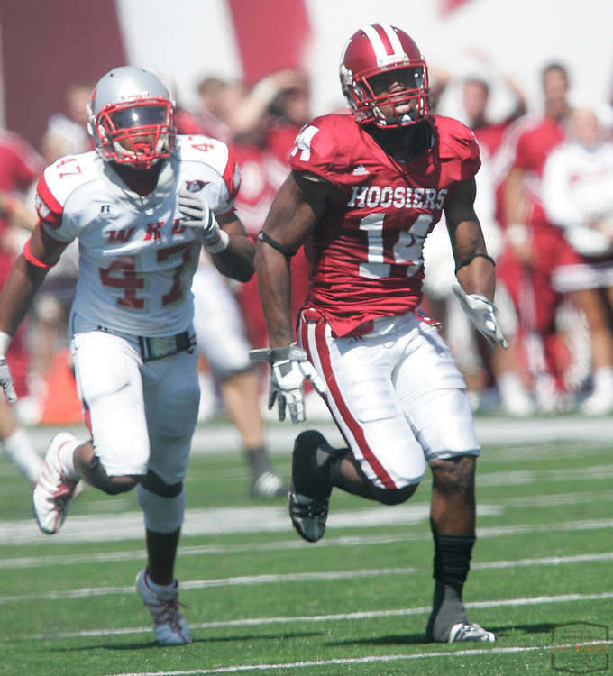 30 August 2008: Indiana's Jeremy Finch as the Indiana Hoosiers played the Western Kentucky Hill Toppers in a college football game in Bloomington, Ind.