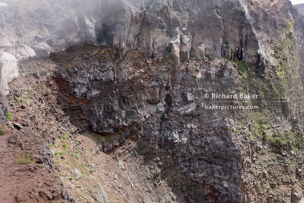Crater geology on edge of dormant Vesuvius volcano, near Naples, Italy.