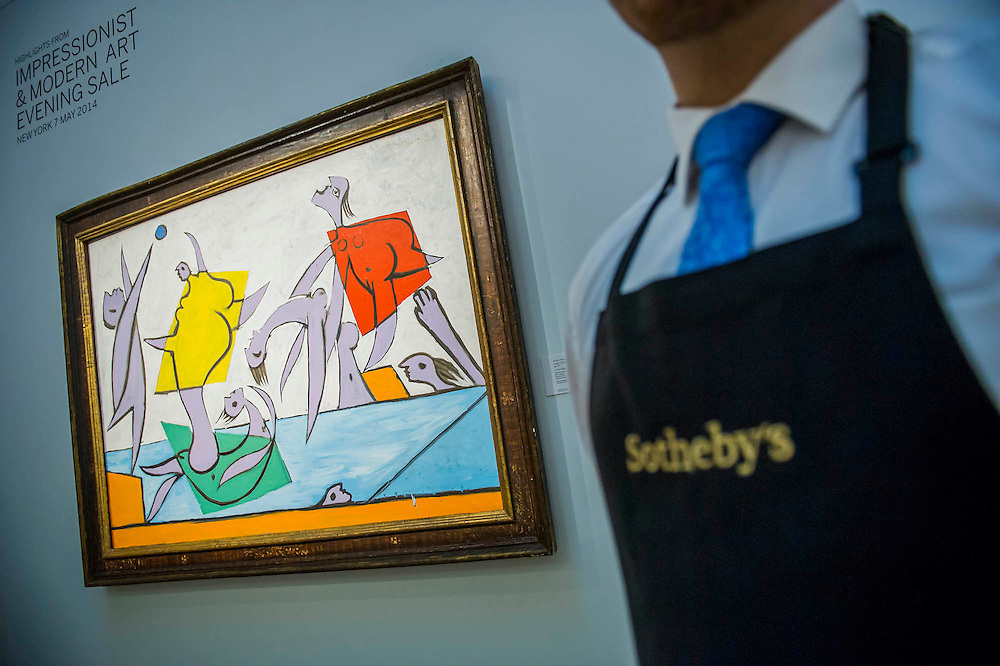 Sotheby's London Exhibition of Sale Highlights from the Forthcoming Major New York Auctions of Contemporary and Impressionist and Modern Art, including exceptional Diamonds from Geneva. The auctions will include: $25-35 million masterpiece by Gerhard Richter; Picaso - Le Sauvetage $14-18m (pictured) They will take place in New York and Geneva 11-15 April 2014. Sotheby's, New Bond St, London, UK.