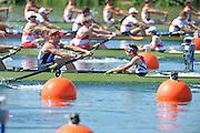 Eton Dorney, Windsor, Great Britain,..2012 London Olympic Regatta, Dorney Lake. Eton Rowing Centre, Berkshire[ Rowing]...Description;  GBR M8+, BOW. Ales PARTRIDGE, James FOAD, ? RANSLEY, Rick EGINGTON, Mo SBIHI, Greg SEARLE, Matt LANGRIDE, Constantine LOULOUDIS and Cox Phelan HILL .move away from the start in their heat of the men' eights.  Dorney Lake. 12:20:06  Saturday  28/07/2012. [Mandatory Credit: Peter Spurrier/Intersport Images]. July/Aug