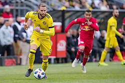 November 4, 2018 - Columbus, OH, U.S. - COLUMBUS, OH - NOVEMBER 04: Columbus Crew defender Josh Williams (3) pushes the ball back towards the goal in the MLS eastern conference semifinals game between the Columbus Crew SC and the New York Red Bulls on November 04, 2018 at Mapfre Stadium in Columbus, OH. (Photo by Adam Lacy/Icon Sportswire) (Credit Image: © Adam Lacy/Icon SMI via ZUMA Press)