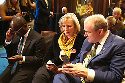© Licensed to London News Pictures. 05/11/2019. London, UK. Liberal Democrat MPs SAM GYIMAH (L), SARAH WOLLASTON (C) and ED DAVEY (R) at the launch of Liberal Democrat general election campaign in Westminster. A general election will be held on 12 December 2019. Photo credit: Dinendra Haria/LNP