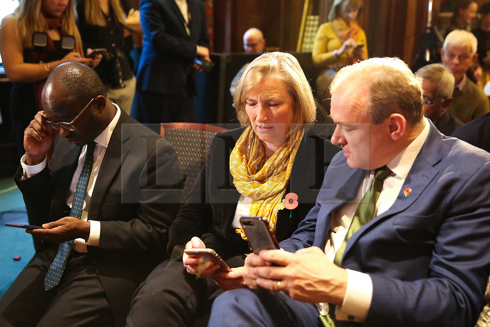 © Licensed to London News Pictures. 05/11/2019. London, UK. Liberal Democrat MPs SAM GYIMAH (L), SARAH WOLLASTON (C) and ED DAVEY (R) at thelaunch of Liberal Democrat general election campaign in Westminster.A general election will be held on 12 December 2019.Photo credit: Dinendra Haria/LNP