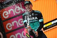 Podium Sam Bennett (IRL - Bora - Hansgrohe) celebration during the 101th Tour of Italy, Giro d'Italia 2018, stage 12, Osimo - Imola 213 km on May 17, 2018 in Italy - Photo Dario Belingheri / BettiniPhoto / ProSportsImages / DPPI
