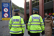Police officers patrol outside Stamford Bridge before k/o. Premier league match, Chelsea v Tottenham Hotspur at Stamford Bridge in London on Saturday 26th November 2016.<br /> pic by John Patrick Fletcher, Andrew Orchard sports photography.