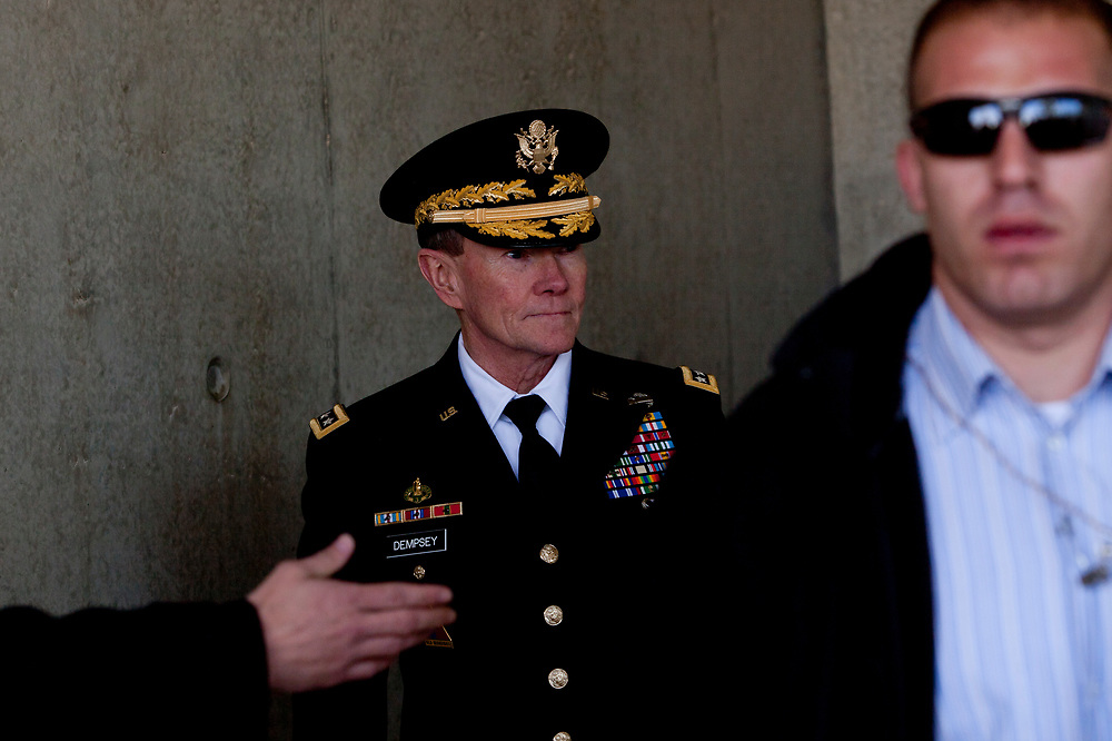 Chairman of the U.S. Joint Chiefs of Staff General Martin Dempsey is seen prior to signing the guest book at the end of his visit to the Yad Vashem Holocaust memorial in Jerusalem, Israel, on January 20, 2012.