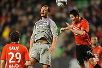 FOOTBALL - FRENCH CHAMPIONSHIP 2009/2010 - L1 - STADE RENNAIS v TOULOUSE FC - 20/03/2010 - PHOTO PASCAL ALLEE / DPPI - DANIEL BRAATEN (TOUL) / CARLOS BOCANEGRA (REN)