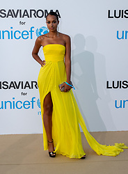 Jasmine Tookes arriving at a photocall for the Unicef Summer Gala Presented by Luisaviaroma at Villa Violina on August 10, 2018 in Porto Cervo, Italy. Photo by Alessandro Tocco/ABACAPRESS.COM