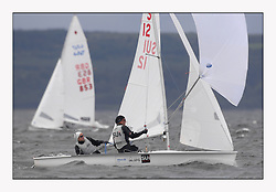 470 Class European Championships Largs - Day 3.Brighter conditions with more wind...SUI12, Fiona TESTUZ, Anne-sophie THILO, Club Nautique Pully
