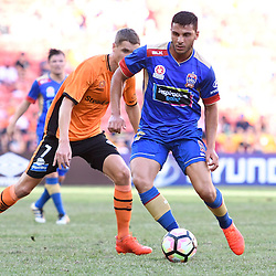 BRISBANE, AUSTRALIA - JANUARY 7: Andrew Nabbout of the Jets controls the ball during the round 14 Hyundai A-League match between the Brisbane Roar and Newcastle Jets at Suncorp Stadium on January 7, 2017 in Brisbane, Australia. (Photo by Patrick Kearney/Brisbane Roar)