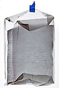 crumpled notepad paper in semi transparent protection paper folded as an protective envelope