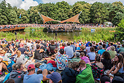 Henham Park, Suffolk, 20 July 2019. Ben Folds plays his set on the Waterfront Stage to a large crowd filling every vnatage point. The 2019 Latitude Festival.