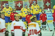 (SUI) gegen  (SWE) im Testspiel zwischen der Schweiz und Schweden, am Mittwoch, 09. April 2014, in der Diners Club Arena Rapperswil-Jona. (Thomas Oswald)