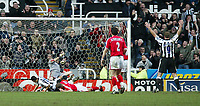 Photo. Andrew Unwin.<br /> Newcastle United v Charlton Athletic, FA Barclaycard Premier League, St James Park, Newcastle upon Tyne 20/03/2004.<br /> Newcastle's Alan Shearer (r) celebrates as his team-mate, Jermaine Jenas (l) scores their team's second goal.