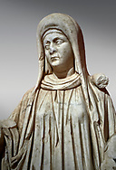Roman statue of a priestess. Marble. Perge. 2nd century AD. Inv no 2015/192. Antalya Archaeology Museum; Turkey. .<br /> <br /> If you prefer to buy from our ALAMY STOCK LIBRARY page at https://www.alamy.com/portfolio/paul-williams-funkystock/greco-roman-sculptures.html . Type -    Antalya     - into LOWER SEARCH WITHIN GALLERY box - Refine search by adding a subject, place, background colour, museum etc.<br /> <br /> Visit our ROMAN WORLD PHOTO COLLECTIONS for more photos to download or buy as wall art prints https://funkystock.photoshelter.com/gallery-collection/The-Romans-Art-Artefacts-Antiquities-Historic-Sites-Pictures-Images/C0000r2uLJJo9_s0