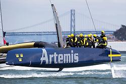Artemis Racing (SWE) vs. Luna Rossa (ITA), Semi-final race three of the Louis Vuitton Cup. ITA wins by 1:18.  9th of August, 2013, Alameda, USA