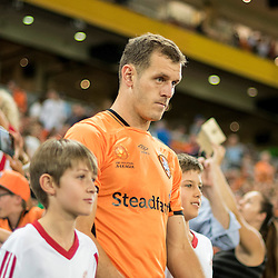 BRISBANE, AUSTRALIA - OCTOBER 30: Luke DeVere of the Roar walks out during the round 5 Hyundai A-League match between the Brisbane Roar and Melbourne City at Suncorp Stadium on November 4, 2016 in Brisbane, Australia. (Photo by Patrick Kearney/Brisbane Roar)