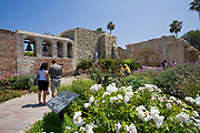 Sacred Garden and Bell Wall, Mission San Juan Capistrano, Historic Downtown San Juan Capistrano, Orange County, California, USA