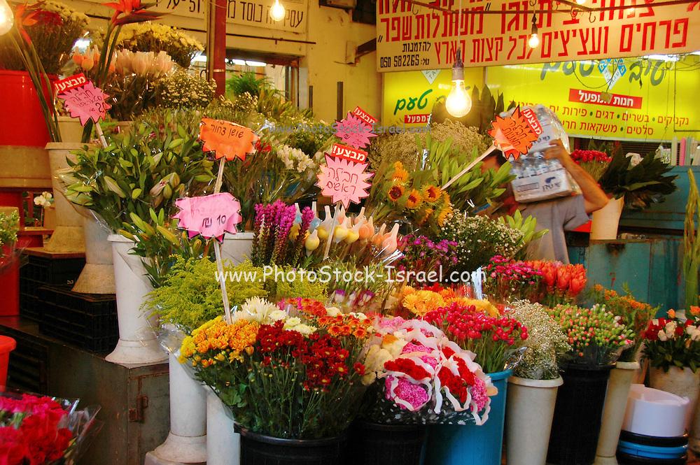 Tel Aviv, Israel, A flower stall at the Carmel Market