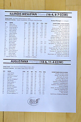 21 February 2017:  Roster during an College men's division 3 CCIW basketball game between the Augustana Vikings and the Illinois Wesleyan Titans in Shirk Center, Bloomington IL