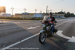 Which way to go? Mike Bell riding his 1923 Harley-Davidson J during Stage 3 of the Motorcycle Cannonball Cross-Country Endurance Run, which on this day ran from Columbus, GA to Chatanooga, TN., USA. Sunday, September 7, 2014.  Photography ©2014 Michael Lichter.