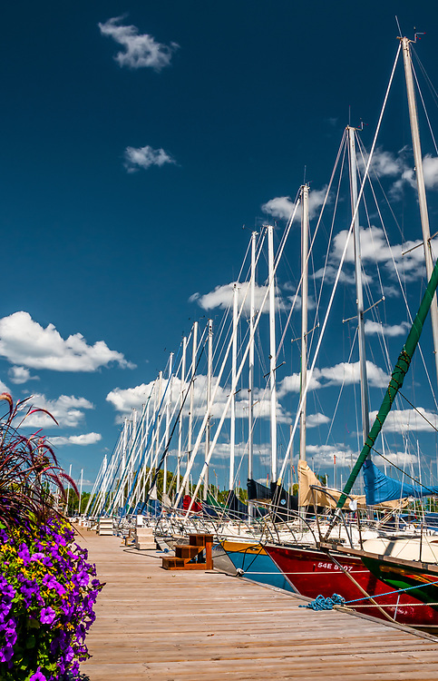 Yachts at their slips in Bronte Harbour, Oakville, Ontario