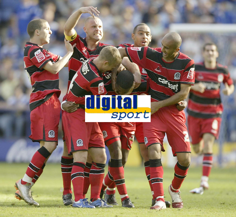 Photo: Aidan Ellis.<br /> Leicester City v Queens Park Rangers. Coca Cola Championship. 15/09/2007.<br /> QPR's Mikele Leigertwood is mobbed after scoring the late equaliser