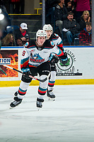 KELOWNA, BC - FEBRUARY 28:  Mark Liwiski #9  skates to the bench with Jonas Peterek #27 of the Kelowna Rockets after scoring a third period goal on Dustin Wolf #32 of the Everett Silvertips at Prospera Place on February 28, 2020 in Kelowna, Canada. (Photo by Marissa Baecker/Shoot the Breeze)