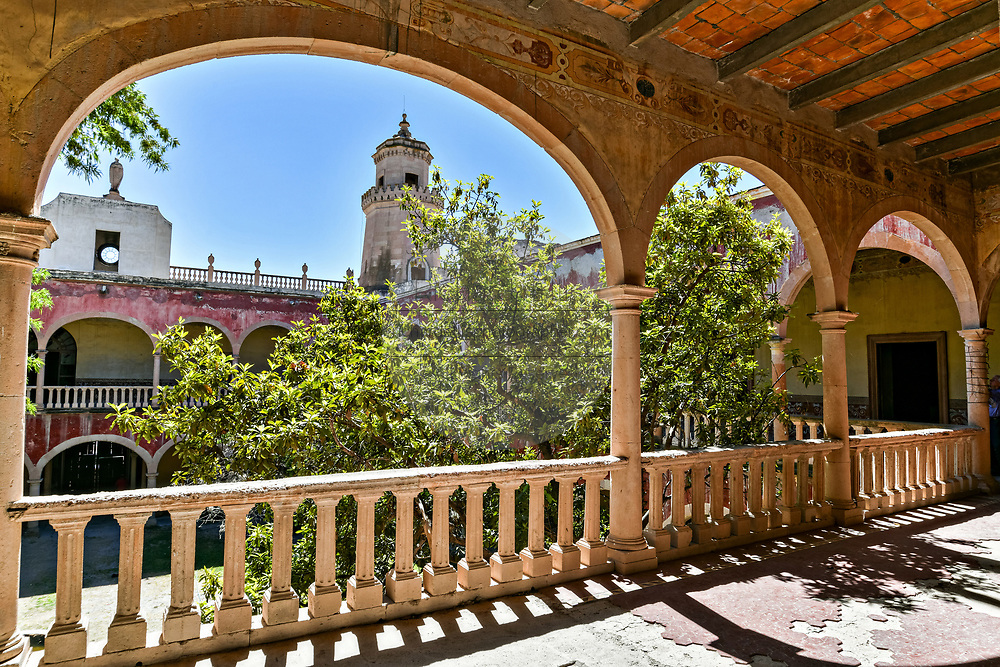 The derelict and crumbling Hacienda de Jaral de Berrio in Jaral de Berrios, Guanajuato, Mexico. The abandoned Jaral de Berrio hacienda was once the largest in Mexico and housed over 6,000 people on the property and is credited with creating Mescal.
