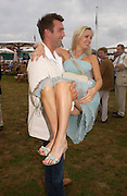 Anouskha di Georgiou and David Fischer, .  Cartier International Day at Guards Polo Club, Windsor Great Park. July 24, 2005. ONE TIME USE ONLY - DO NOT ARCHIVE  © Copyright Photograph by Dafydd Jones 66 Stockwell Park Rd. London SW9 0DA Tel 020 7733 0108 www.dafjones.com