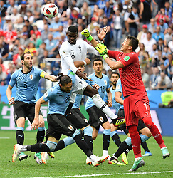 France's Paul Pogba and Uruguay's Fernando Muslera during the FIFA World Cup 2018 Round of 8 France v Uruguay match at the Nizhny Novgorod Stadium Russia, on July 6, 2018. France won 2-0. Photo by Christian Liewig/ABACAPRESS.COM