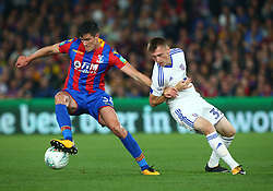 August 22, 2017 - London, England, United Kingdom - Crystal Palace's Martin Kelly holds of Ipswich Town's Ben Morris.during Carabao Cup 2nd Round   match between Crystal Palace and Ipswich Town at Selhurst Park Stadium, London,  England on 22 August 2017. (Credit Image: © Kieran Galvin/NurPhoto via ZUMA Press)