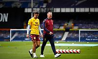 Football - 2019 / 2020 Premier League - Everton vs Aston Villa<br /> <br /> Jack Grealish of Aston Villa and Dean Smith manager of Aston Villa at Goodison Park<br /> <br /> COLORSPORT/LYNNE CAMERON