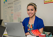 Alyssa Martinez poses for a photograph at Fraga Middle College, February 12, 2015.
