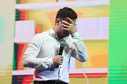 March 29, 2019 - Brovary, Ukraine - Volodymyr Zelenskiy , Ukrainian comic actor and candidate in the upcoming presidential election, performs with his '95th quarter' group during a comedy show in Brovary in Kiev region, Ukraine, on 29 March, 2019. Ukrainian actor and businessman Zelensky, in the opinion polls is leading ahead of this month's presidential vote.The presidential election will held in Ukraine on March 31, 2019. (Credit Image: © Str/NurPhoto via ZUMA Press)