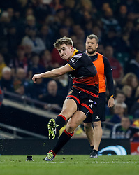 Dragons' Arwel Robson watches a penalty go over<br /> <br /> Photographer Simon King/Replay Images<br /> <br /> Guinness PRO14 Round 21 - Dragons v Scarlets - Saturday 28th April 2018 - Principality Stadium - Cardiff<br /> <br /> World Copyright © Replay Images . All rights reserved. info@replayimages.co.uk - http://replayimages.co.uk