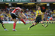 Graziano Pelle of Southampton takes a shot at goal. Barclays Premier League, Watford v Southampton at Vicarage Road in London on Sunday 23rd August 2015.<br /> pic by John Patrick Fletcher, Andrew Orchard sports photography.