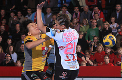 Luidmila Bodnieva (14) and Ognjenovic S. (21) at handball match of 2nd Round of EHF Women`s Championsleague between RK Krim Mercator (SLO) and Metz Handball (FRA), in Arena Kodeljevo, Ljubljana, Slovenia, on November 9, 2008. Metz  won match against RK Krim Mercator with 31:26.