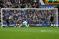 Romelu Lukaku of Everton is unlucky as his effort on goal goes over the crossbar. Premier league match, Everton v Chelsea at Goodison Park in Liverpool, Merseyside on Sunday 30th April 2017.<br /> pic by Chris Stading, Andrew Orchard sports photography.