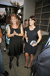 Left to right, SARAH, DUCHESS OF YORK and PRINCESS EUGENIE OF YORK at The Ralph Lauren Sony Ericsson WTA Tour Pre-Wimbledon Party hosted by Richard Branson at The Roof Gardens, London on June 18, 2009