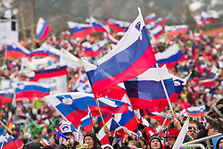 Fans with Slovenian national flag during the Ski Flying Individual Competition at Day 4 of FIS World Cup Ski Jumping Final, on March 22, 2015 in Planica, Slovenia. Photo by Ziga Zupan / Sportida