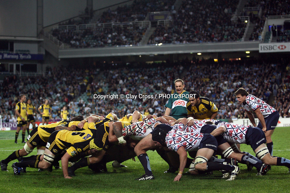 A scrum during the NSW Waratahs v Hurricanes. 2010 Super 14 Rugby Union round 14 match played at the Sydney Football Stadium, Moore Park Australia. Friday 14 May 2010. Photo: Clay Cross/PHOTOSPORT