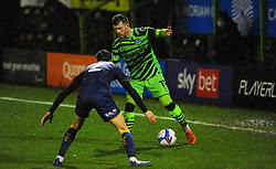 Corey O'Keeffe of Mansfield Town tries to hold off Nicky Cadden of Forest Green Rovers- Mandatory by-line: Nizaam Jones/JMP - 14/11/2020 - FOOTBALL - innocent New Lawn Stadium - Nailsworth, England - Forest Green Rovers v Mansfield Town - Sky Bet League Two